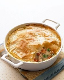 A handful of tweaks turn this comfort food into a smarter choice: white-meat chicken (not dark), extra veggies, low-fat milk in the filling, and a lighter crust. Brushing the phyllo with just a small amount of oil instead of butter makes it just as tasty.