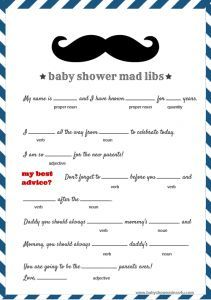 free baby shower mad libs game moustache
