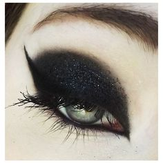 Black eye shadow/liner ❤ liked on Polyvore featuring beauty products, makeup, eye makeup, eyeliner and eyes