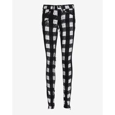 Skinny jeans have come a long way when it comes to prints and we love the black & white plaid. Zipper/button closure. Three slant zipper pockets at front. Two …