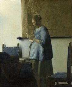 Woman Reading a Letter, Johannes Vermeer, c. 1663 - Johannes Vermeer - Artists - Explore the collection - Rijksmuseum Fine Art, Woman Reading, Rijksmuseum, Dutch Artists, Vermeer Paintings, Johannes, First Art, Johannes Vermeer, Art History