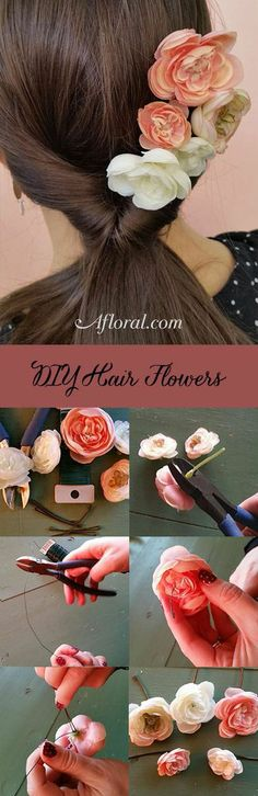 DIY Hair Flowers.  Looking for an easy way to create a romantic hair style for your next date? Use wire to connect ranunculus flower heads to bobby pins.  That's it!  Give a simple ponytail a makeover, and stay on trend with this fantastic ombre look!