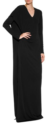 Asymmetrical long sleeves lend an exquisitely modern look to this draped evening gown from Vionnet #Stylebop