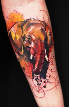 Elephant tattoo by Ivana Belakova