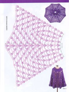 lovely crochet poncho! ~ Will use as a Skirt Pattern