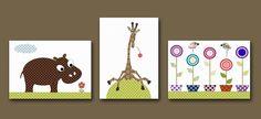 "Art for Children , Kids Wall Art, Baby Boy Room Decor,Nursery print,set of 3 8"" x 10"" Print,giraffe,hippopotamus,flowers,artwork,collage. $42.00, via Etsy."