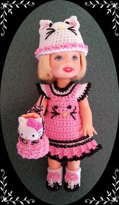 """Crochet Clothes Pink Kitty Outfit for 4 ½"""" Kelly Same Sized Dolls   eBay"""