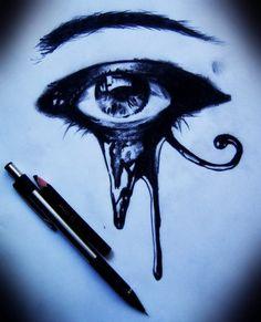 art, artwork, black, black and white, color pencil, draw, eye, horus, pencil art, photography, sketch, kred, eye of horus, eye of ra