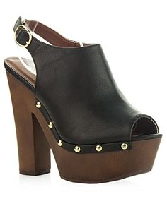 ROF Womens Sling Back Side Stud Decor Peep Toe Chunky Platform Clog Heel BLACK PU 10 *** See this great product by click affiliate link Amazon.com