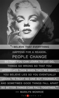 "Marilyn Monroe – ""I believe everything happens for a reason"" Quote"