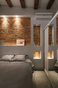 Cabecero ladrillos, selectively exposed brick in bedroom. Cabecero ladrillos, selectively exposed brick in bedroom. Brick Interior, Interior Walls, Interior Architecture, Interior Design, Interior Ideas, Interior Wall Lights, Home Decor Lights, Interior Office, Interior Lighting