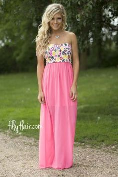 Inviting Ways Strapless Maxi in Pink