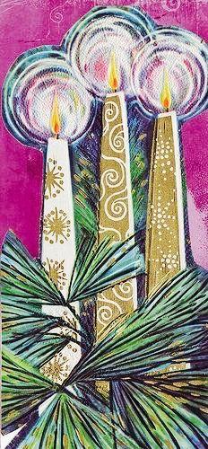 Mid-century Modern Christmas Card. 1960's Christmas Card. Christmas Candles. Retro Christmas Card. Vintage Christmas Card.