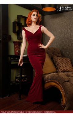 Laura Byrnes California- The Laura Byrnes Gilda Gown in Burgundy Velvet | Pinup Girl Clothing