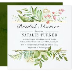 Wild Floral Green Foliage Watercolor Bridal Shower Card - invitations custom unique diy personalize occasions
