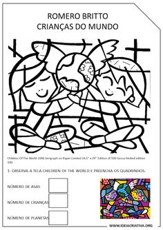 Risultati immagini per romero britto coloring pages fall Fun Learning, Teaching Kids, School Murals, Child Day, Business For Kids, Art Plastique, Art Therapy, Art Lessons, Art For Kids