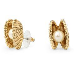 C. Wonder Seashell Pearl Stud Earrings ($38) found on Polyvore