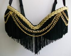 You are sure to get noticed in this cute black push-up rave bra decorated with fringe, gold braided trim, and gold chain accents. Bedazzled Bra, Bling Bra, Rhinestone Bra, Festival Wear, Festival Outfits, Decorated Bras, Diy Bra, Burning Man Fashion, High Fashion Makeup