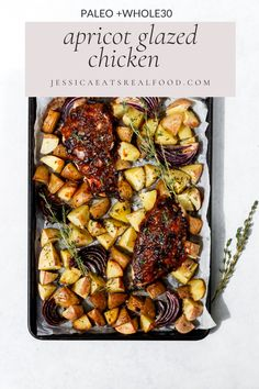 This Whole30 Apricot Glazed Chicken is sticky, sweet + topped with a no-sugar added apricot glaze full of garlic + dijon flavours. It's so easy to put together, but packs a serious flavour punch! Paleo Whole 30, Whole 30 Recipes, Real Food Recipes, Spring Desserts, Spring Recipes, Paleo Meal Prep, Dairy Free Recipes, Gluten Free, Glazed Chicken