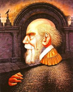 """This famous illusion painting is called """"The General's Family"""" by Mexican painter Octavio Ocampo, and hidden within it are nine faces. Optical Illusion Paintings, Amazing Optical Illusions, Optical Illusions Pictures, Illusion Pictures, Art Optical, Funny Illusions, Image Halloween, Images Vintage, Illusion Art"""