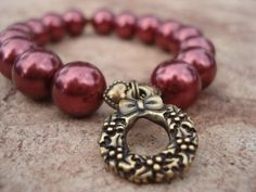 Holiday Burgundy Pearl bracelet with Brass by MakeMeSmileJewelry