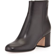 Gianvito Rossi Vitello Leather Block Heel Ankle Boot ($975) ❤ liked on Polyvore featuring shoes, boots, ankle booties, ankle boots, black, shoes booties, short black boots, short boots, leather bootie and black booties