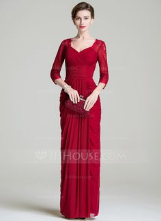 Sheath/Column Sweetheart Floor-Length Lace Jersey Mother of the Bride Dress With Ruffle (008072686)