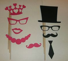 Photo Booth Props 9pcs Mustache and Princess Crown | eBay