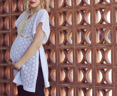 This next Maternity DIY is one of my favorites. Not only is it super easy to stitch up on an afternoon, but it's also a great transitional piece that you can wear post pregnancy. It's a super easy fit! You'll need: 1.5 yards lace fabric, a lace collar applique (you can find these at some fabric stores and in the supplies section of Etsy), Rope, lace and jersey to braid...