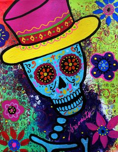 day+of+the+dead | Mago Day Of The Dead Painting - Mago Day Of The Dead Fine Art Print