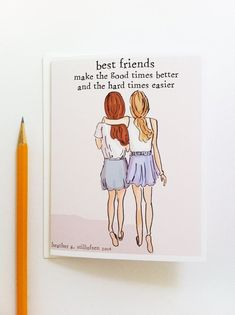 presents bff Miss You Card - Best Friends Card - Bon Voyage Card - Miss You Card - Card for Friends Best Friend Birthday Cards, Best Friend Cards, Friend Birthday Gifts, Best Friend Gifts, About Best Friend, Diy Cards For Friends, Bff Quotes, Best Friend Quotes, Qoutes