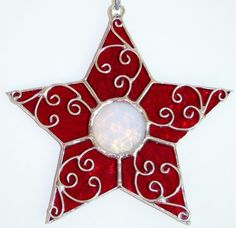 Ruby Red Filigree Stained Glass Star Ornament by TheGlassCottage