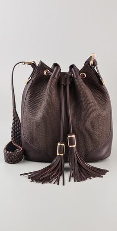 Woven leather bucket bag. By Rachel Zoe.