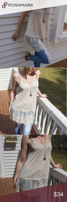 NWT Retail! SUMMER SALE!!!! Lace Tank Beautiful tank top with lace trim. Tops Tank Tops