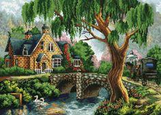 Вышивка крестом домик на берегу реки. Схема вышивки красивого пейзажа