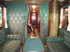Train car of King Ludwig II of Bavaria. Constructed c. Alexandra Of Denmark, Christian Ix, Danish Interior, Cafe Concept, Danish Royalty, Danish Royal Family, Vintage Interiors, Royal Palace, Train Car