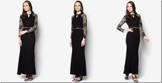 Last Minute Demure Lace Raya 2015 Outfit Ideas: gold-metal-bar-lace-black-dress