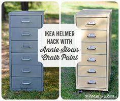Give an IKEA Helmer filing cabinet a makeover with chalk paint! {IKEA Hack}