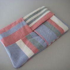Etui à mouchoirs en papier en tissu rayé recyclé - pochette kleenex - pliage origami - 100% recyclage