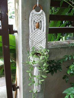 Macrame Wall Hung Plant Hanger by handiworkclub on Etsy