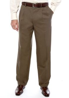 Lauren Ralph Lauren Tailored Clothing Olive Classic Fit Total Comfort Pleated Dress Pants