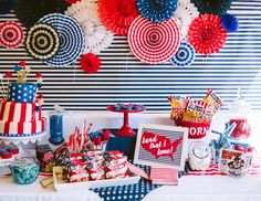 Celebrate Independence Day with this Kara's Party Ideas featured Patriotic Red+ White & Blue Birthday BBQ. See the entire party inside! Blue Birthday Parties, Birthday Bbq, July Birthday, Girl First Birthday, Birthday Ideas, 4th Of July Party, Fourth Of July, Red Party Themes, Party Ideas