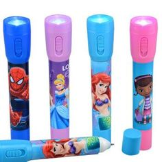 2-in-1 Licensed Character Flashlight with Pen (Set of 3)