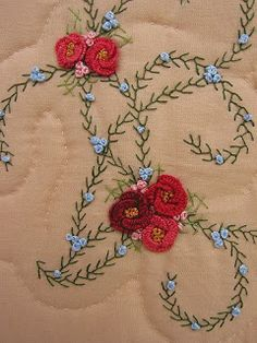 This Pin was discovered by pad Hand Embroidery Flowers, Hand Embroidery Patterns, Ribbon Embroidery, Floral Embroidery, Cross Stitch Embroidery, Crazy Quilting, Crazy Quilt Stitches, Crazy Patchwork, Brazilian Embroidery