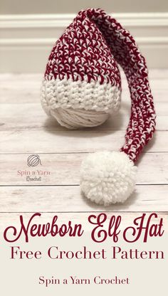 Newborn Elf Hat - Free Crochet Pattern Baby Christmas Hat, Crochet Christmas Hats, Holiday Crochet, Newborn Crochet Patterns, Crochet Baby Hats, Free Crochet, Crochet Beanie, Crochet Yarn, Crocheted Hats
