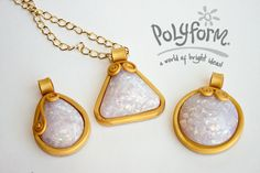 premo! Accents Glowing Faux Opal Pendants from Syndee Holt for Polyform #Polymer #Clay #Tutorials