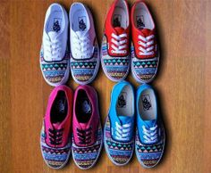 Tribal Aztec Painted Shoes  Vans by denimtrend on Etsy
