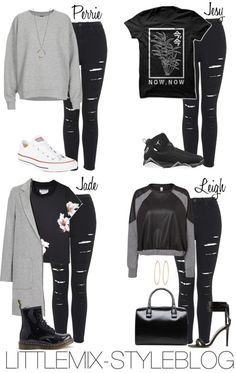 *REQUESTED* LM Inspired with Distressed Black Jeans (Winter) by littlemix-styleblogfeaturing Topshop Topshop oversized sweater / Black t shirt / Vero Moda black blouse, $60 / Charles Anastase black t shirt / Topshop coat / Topshop high waisted jeans / Dr. Martens black shoes /Converse flat shoes / Jason Wu black sandals, $545 / Black handbag / Social Anarchy hoop earrings / Diana Warner silver necklace / NIKE Jordan