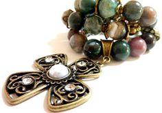 Jasper Cross Necklace Cross Pendant Fancy by Elegencebyelaine, $55.00