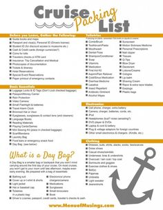 Looking for a Packing List for a Cruise to make sure you are not forgetting something? Check out our comprehensive list as a guide {and it's printable too!} by kara